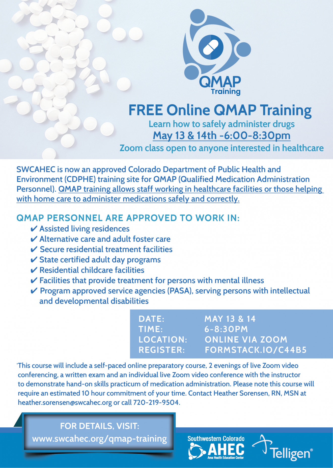 QMAP Training Flyer-online course for May 13